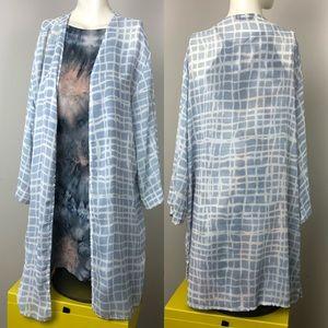 Blue Geo Print Kimono Cardigan / Cover Up